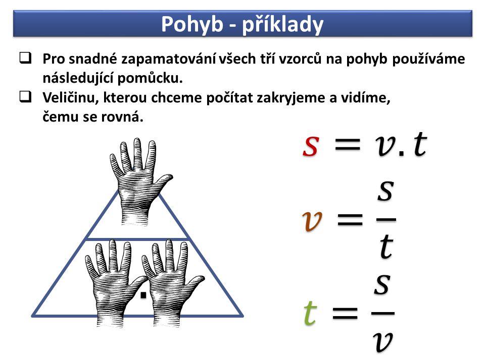 Pohyb - příklady  Pro snadné zapamatování všech tří vzorců na pohyb používáme následující pomůcku.