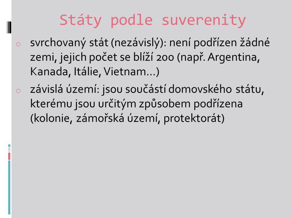 Státy podle suverenity o svrchovaný stát (nezávislý): není podřízen žádné zemi, jejich počet se blíží 200 (např.