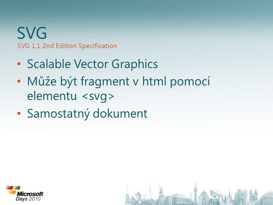 Scalable Vector Graphics Může být fragment v html pomocí elementu Samostatný dokument SVG SVG 1.1 2nd Edition Specification