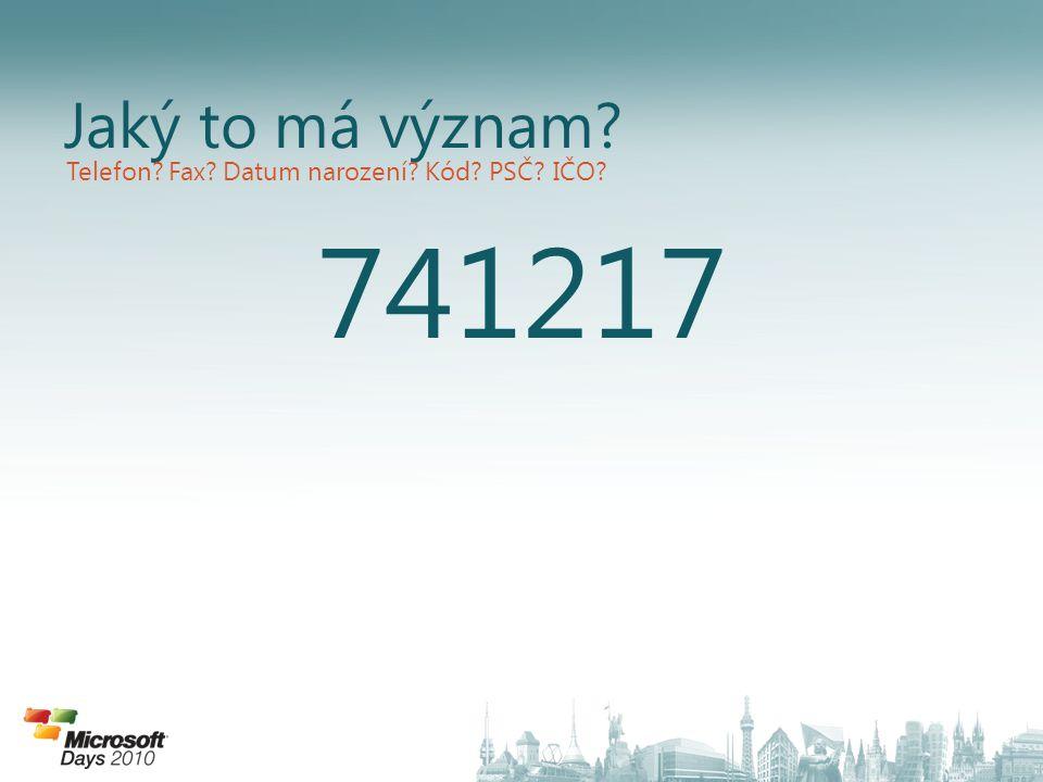 741217 Jaký to má význam? Telefon? Fax? Datum narození? Kód? PSČ? IČO?