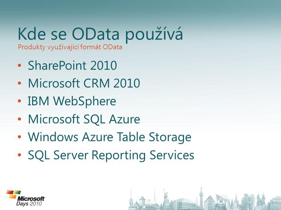 SharePoint 2010 Microsoft CRM 2010 IBM WebSphere Microsoft SQL Azure Windows Azure Table Storage SQL Server Reporting Services Kde se OData používá Pr