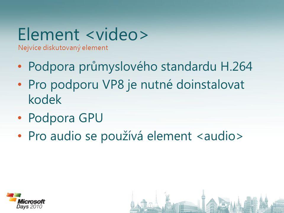 Podpora průmyslového standardu H.264 Pro podporu VP8 je nutné doinstalovat kodek Podpora GPU Pro audio se používá element Element Nejvíce diskutovaný