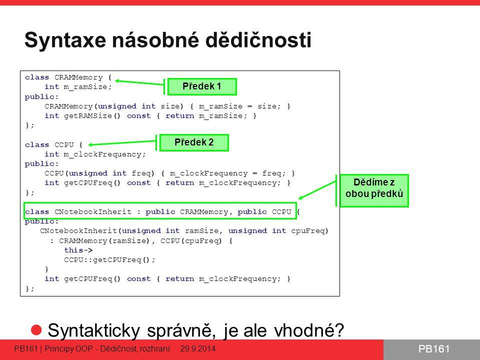 PB161 Syntaxe násobné dědičnosti Syntakticky správně, je ale vhodné.