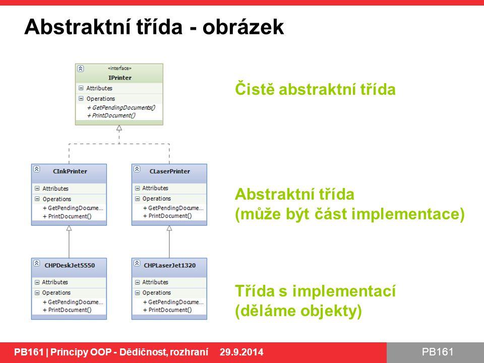 PB161 Abstraktní třída - obrázek PB161 | Principy OOP - Dědičnost, rozhraní 29.9.2014 Čistě abstraktní třída Abstraktní třída (může být část implementace) Třída s implementací (děláme objekty) PB161 | Principy OOP - Dědičnost, rozhraní 29.9.2014