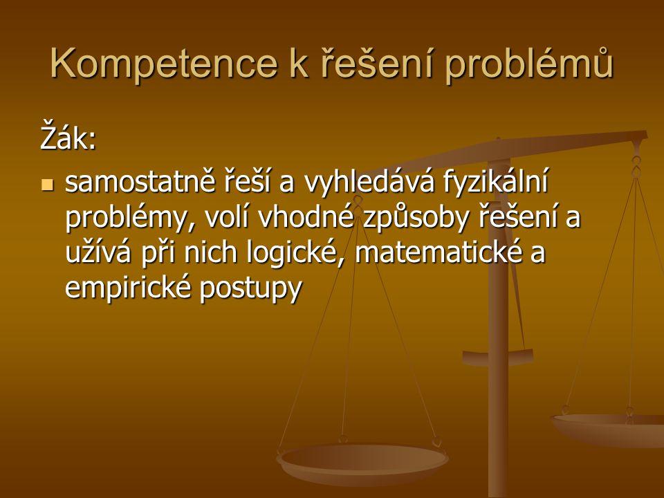 Kompetence k řešení problémů při řešení fyzikálních problémů využívá znalosti a dovednosti získané v jiných přírodovědných předmětech při řešení fyzikálních problémů využívá znalosti a dovednosti získané v jiných přírodovědných předmětech pozoruje a chápe souvislost mezi platnými fyzikálními zákony a praktickým životem pozoruje a chápe souvislost mezi platnými fyzikálními zákony a praktickým životem aplikuje a hodnotí různé postupy práce při fyzikálních pokusech, odhaduje rizika s nimi spojená aplikuje a hodnotí různé postupy práce při fyzikálních pokusech, odhaduje rizika s nimi spojená