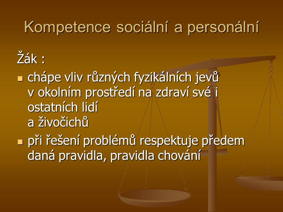 Kompetence sociální a personální podílí se na pozitivní pracovní atmosféře při práci ve skupině podílí se na pozitivní pracovní atmosféře při práci ve skupině využívá zkušeností získaných při výuce i zkušeností získaných z praktického života využívá zkušeností získaných při výuce i zkušeností získaných z praktického života toleruje názory a chování jiných, kriticky se staví ke svému chování i k chování jiných toleruje názory a chování jiných, kriticky se staví ke svému chování i k chování jiných efektivně spolupracuje ve skupině při řešení daného úkolu efektivně spolupracuje ve skupině při řešení daného úkolu