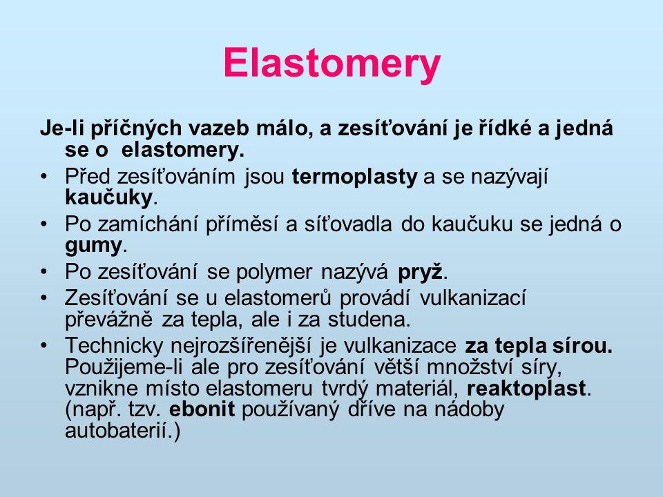 Elastomery Je-li příčných vazeb málo, a zesíťování je řídké a jedná se o elastomery. Před zesíťováním jsou termoplasty a se nazývají kaučuky. Po zamíc