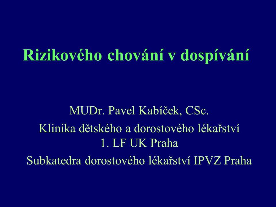 Rizikového chování v dospívání MUDr. Pavel Kabíček, CSc. Klinika dětského a dorostového lékařství 1. LF UK Praha Subkatedra dorostového lékařství IPVZ