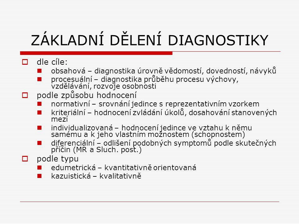 ZÁKLADNÍ DĚLENÍ DIAGNOSTIKY  dle cíle: obsahová – diagnostika úrovně vědomostí, dovedností, návyků procesuální – diagnostika průběhu procesu výchovy,