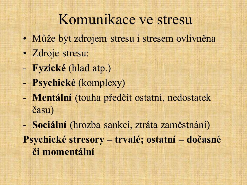 Komunikace ve stresu Může být zdrojem stresu i stresem ovlivněna Zdroje stresu: -Fyzické (hlad atp.) -Psychické (komplexy) -Mentální (touha předčít os