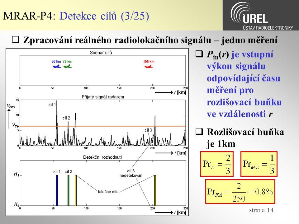 strana 14 MRAR-P4: Detekce cílů (3/25)  Zpracování reálného radiolokačního signálu – jedno měření  P in (r) je vstupní výkon signálu odpovídající času měření pro rozlišovací buňku ve vzdálenosti r  Rozlišovací buňka je 1km