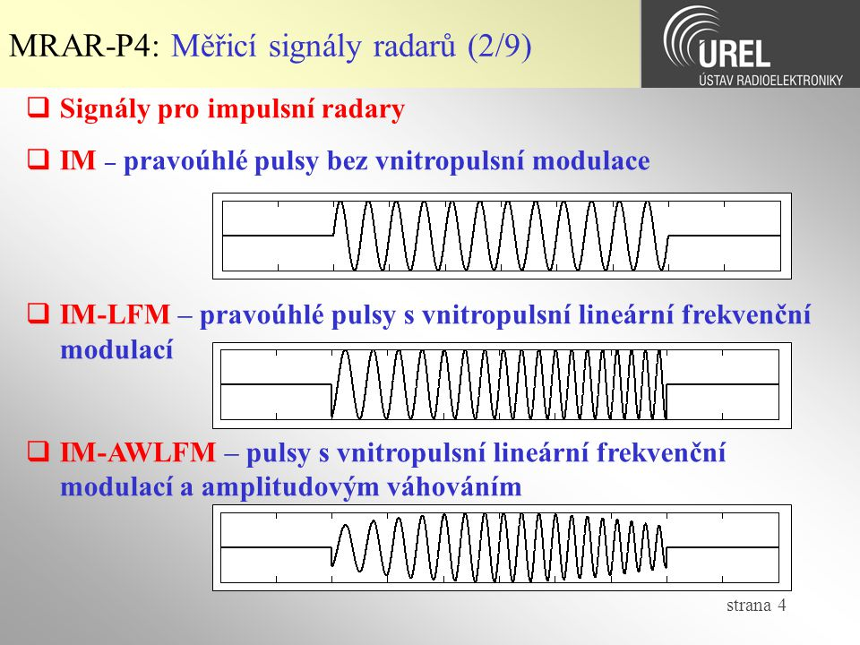 strana 5 MRAR-P4: Měřicí signály radarů (3/9)  Signály pro impulsní radary  IM-NFM – pravoúhlé pulsy s vnitropulsní nelineární frekvenční modulací (Nonlinear Frequency Modulation)  IM-SFM – pravoúhlé pulsy s vnitropulsní modulací s frekvenčními skoky (Step Frequency Modulation)
