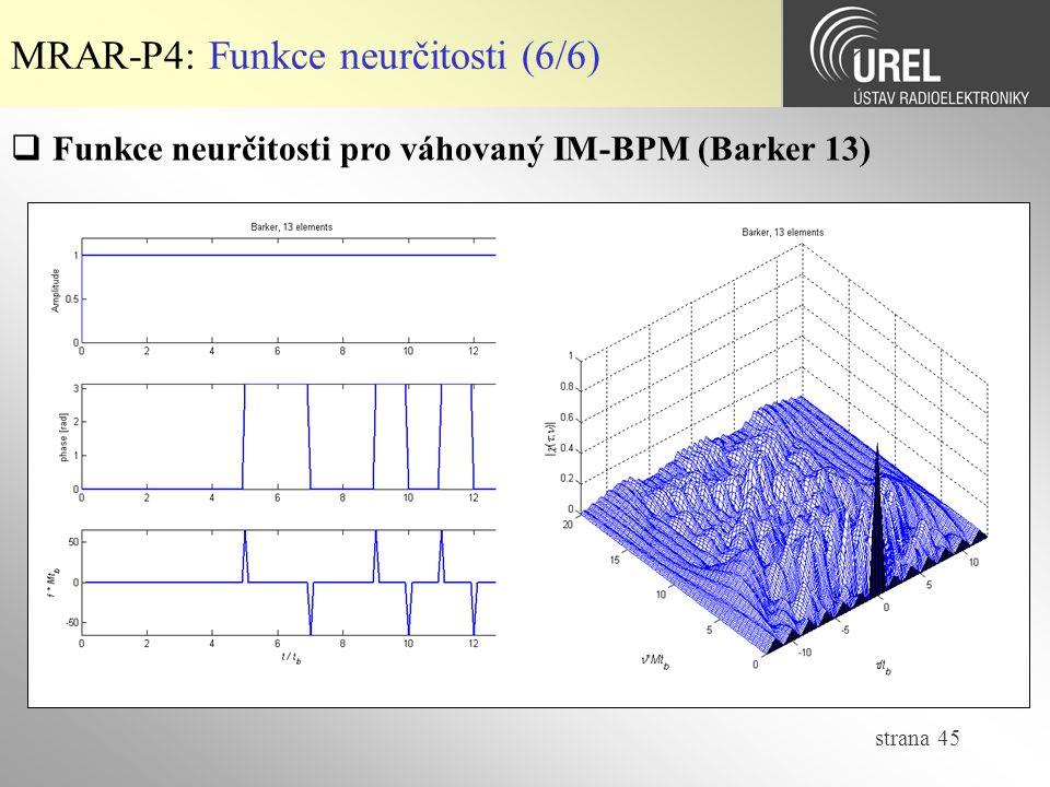 strana 45 MRAR-P4: Funkce neurčitosti (6/6)  Funkce neurčitosti pro váhovaný IM-BPM (Barker 13)