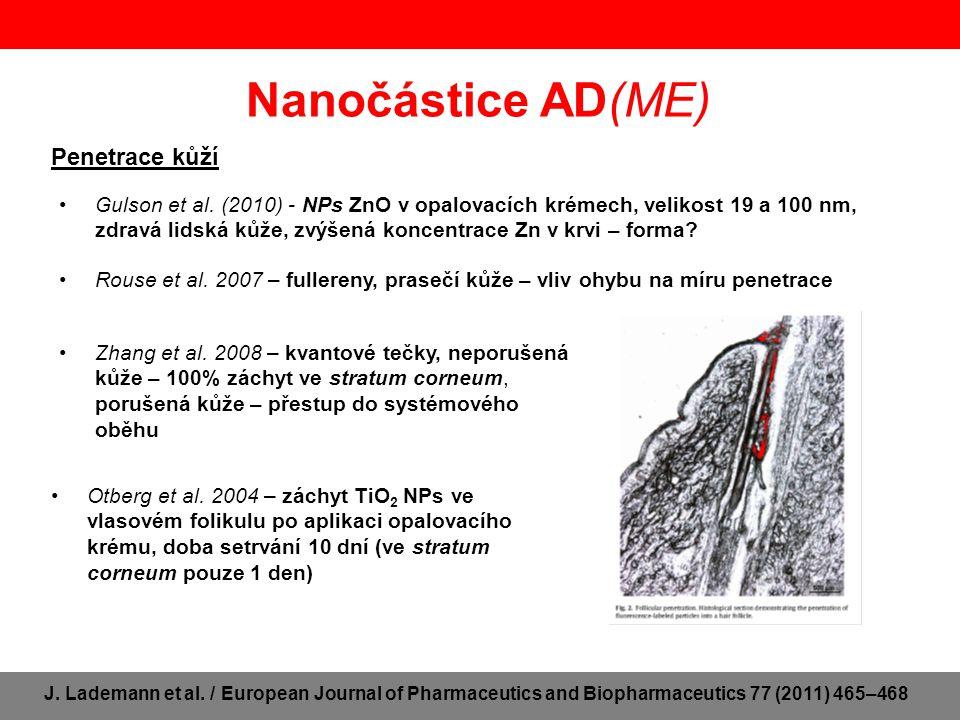 Axonální translokace Nanočástice AD(ME) Elder et al.