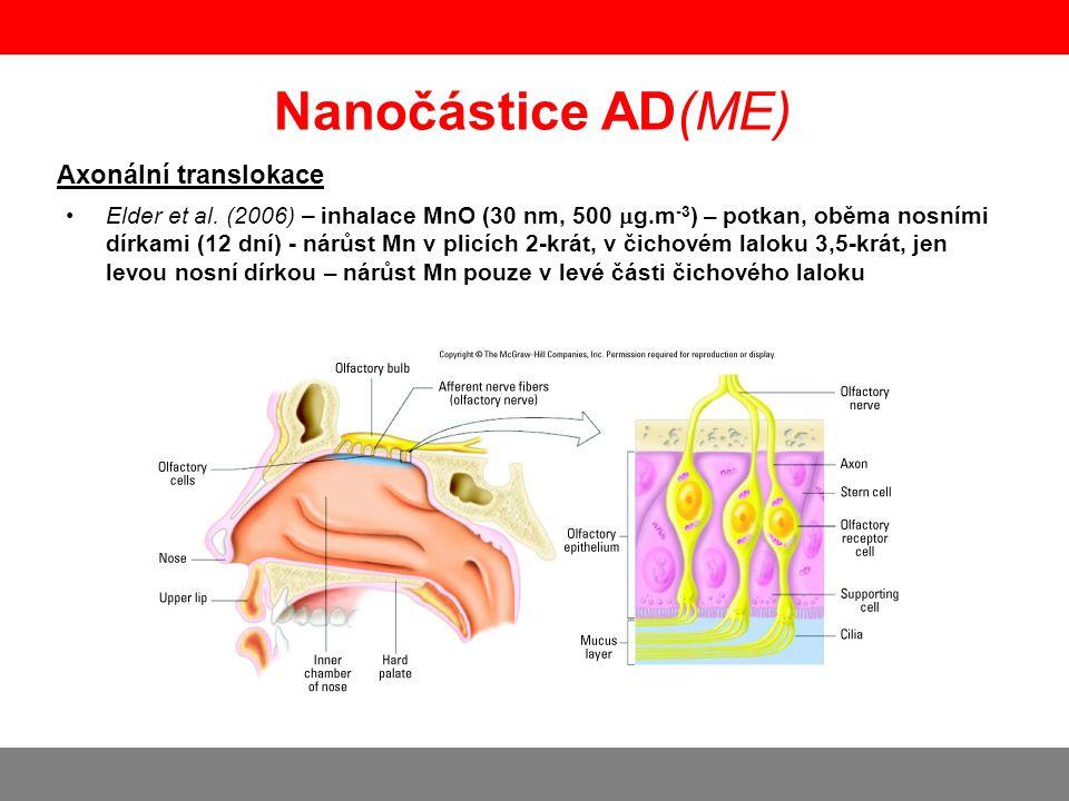Axonální translokace +/- Nanočástice AD(ME) Garzotto and De Marchis (2010) – kvantové tečky, myš – vstup do čichového laloku extracelulární cestou nikoli axonální translokací ENPs inhalace nosplíce krev Sekundární orgány ----------------------- Redistribuce do krve Mozek/CNS Axonální transport Translokace BBB penetrace Akutní expozice Chronická expozice http://www.particleandfibretoxicology.com/content/pdf/1743-8977-7-42.pdf Yu et al.