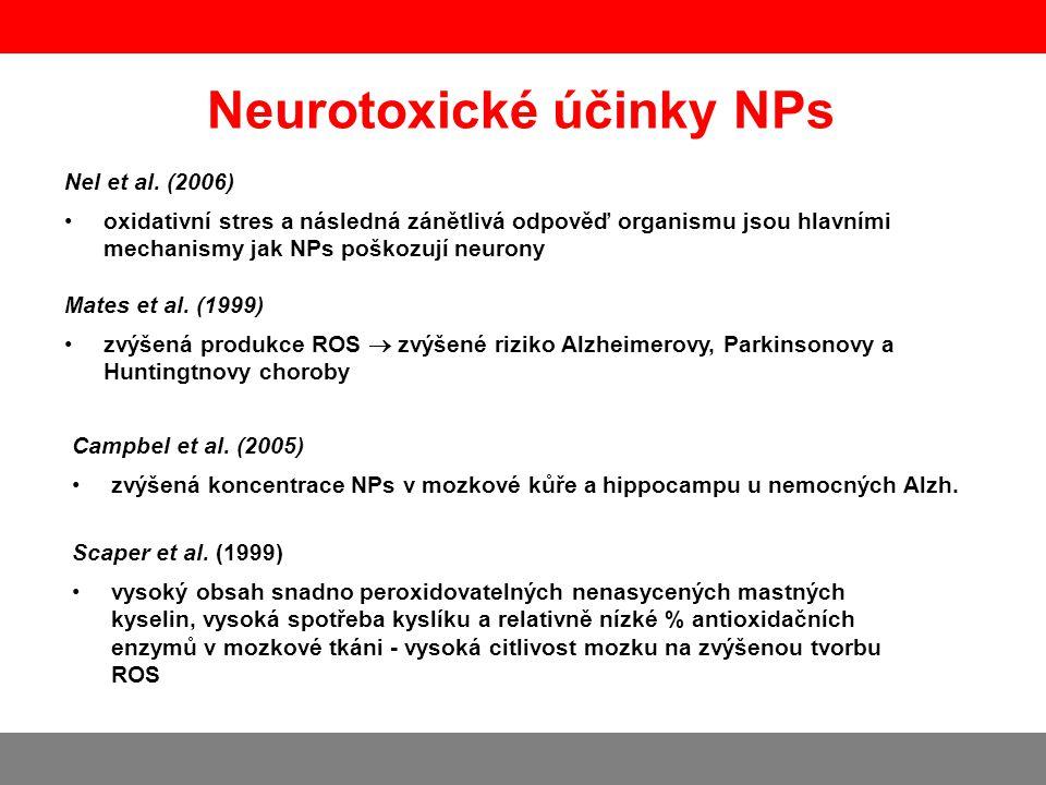 Neurotoxické účinky NPs Hu et al., International Journal of Pharmaceutics 394 (2010) 115 - 121