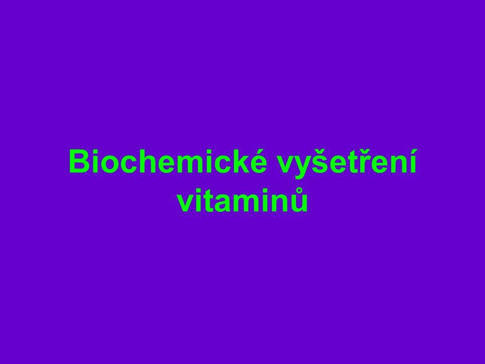 Kyselina listová tetrahydroderivát je koenzymem metabolismu jednouhlíkatých zbytků – přenos methylových skupin tvorba nukleových kyselin Hypovitaminóza = makrocytární anemie porucha proteosyntézy hromadění purinů - hyperhomocyteinemie bakterie tlustého střeva tvoří kyselinu listovou – k tvorbě potřebují kyselinu p-aminobenzoovou RDA 180-200 ug Folát v séru více než 3 ug/l Folát v erytrocytech více než 150 ug/l Měření: folát v séru a v erytrocytech vazebná kapacita na transportní protein