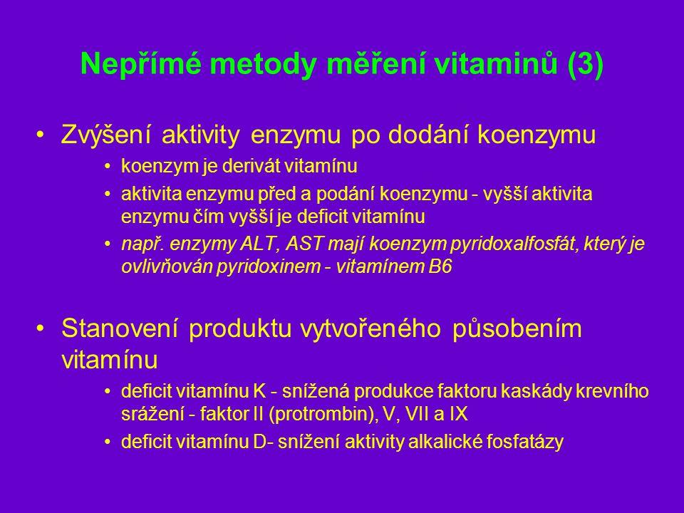 Nepřímé metody měření vitaminů (3) Zvýšení aktivity enzymu po dodání koenzymu koenzym je derivát vitamínu aktivita enzymu před a podání koenzymu - vyš