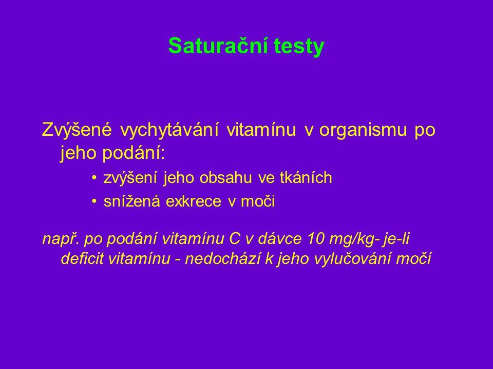 Saturační testy Zvýšené vychytávání vitamínu v organismu po jeho podání: zvýšení jeho obsahu ve tkáních snížená exkrece v moči např. po podání vitamín