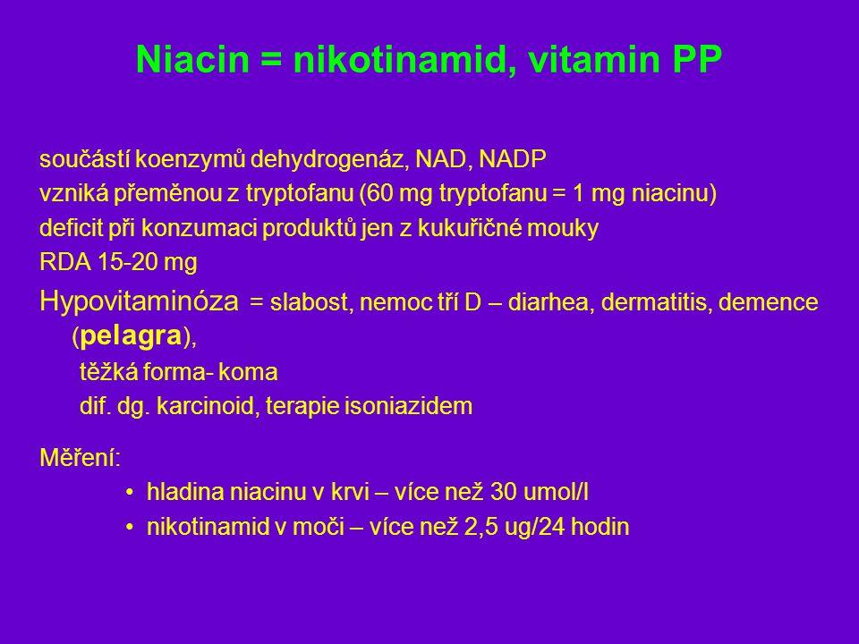 Niacin = nikotinamid, vitamin PP součástí koenzymů dehydrogenáz, NAD, NADP vzniká přeměnou z tryptofanu (60 mg tryptofanu = 1 mg niacinu) deficit při