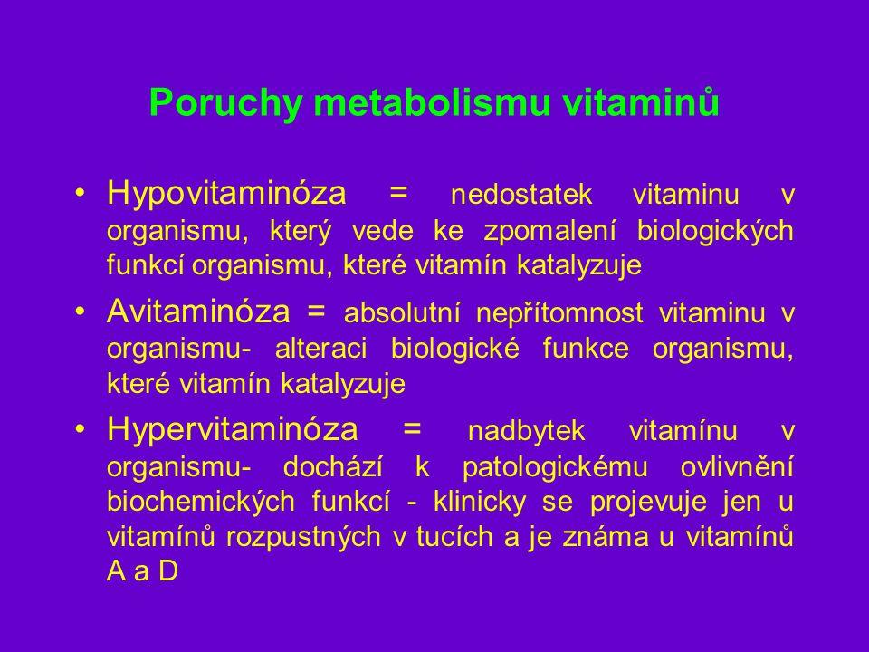 Hypovitaminóza Subklinická = jen snížená hladina vitaminů v organismu bez klinických příznaků Klinická = klinické příznaky hypovitaminózy jsou vyjádřeny vitamíny rozpustné v tucích - nedochází k depleci ihned, protože organismus má zásoby vitamíny rozpustné ve vodě - deficit se projeví dříve –vitamín K - krvácivé projevy –vitamín C - kurděje –vitamín A - xeroftalmie –vitamín D - osteomalacie