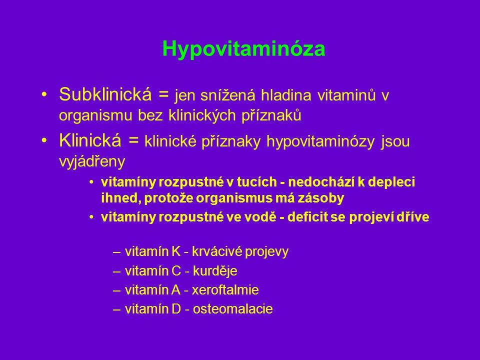 Hypovitaminóza Subklinická = jen snížená hladina vitaminů v organismu bez klinických příznaků Klinická = klinické příznaky hypovitaminózy jsou vyjádře