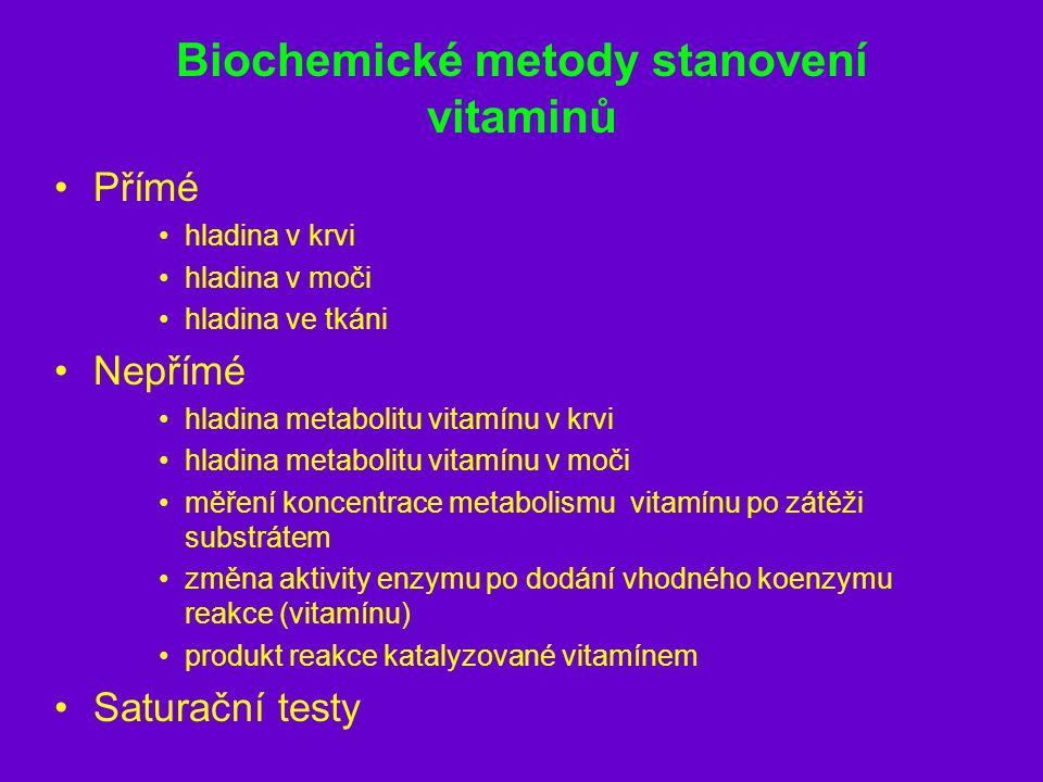 Biochemické metody stanovení vitaminů Přímé hladina v krvi hladina v moči hladina ve tkáni Nepřímé hladina metabolitu vitamínu v krvi hladina metaboli