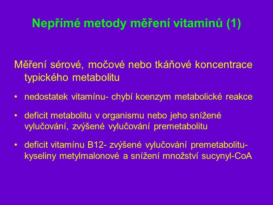 Nepřímé metody měření vitaminů (1) Měření sérové, močové nebo tkáňové koncentrace typického metabolitu nedostatek vitamínu- chybí koenzym metabolické