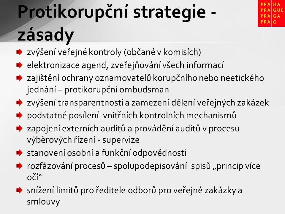 """Protikorupční strategie - zásady zvýšení veřejné kontroly (občané v komisích) elektronizace agend, zveřejňování všech informací zajištění ochrany oznamovatelů korupčního nebo neetického jednání – protikorupční ombudsman zvýšení transparentnosti a zamezení dělení veřejných zakázek podstatné posílení vnitřních kontrolních mechanismů zapojení externích auditů a provádění auditů v procesu výběrových řízení - supervize stanovení osobní a funkční odpovědnosti rozfázování procesů – spolupodepisování spisů """"princip více očí snížení limitů pro ředitele odborů pro veřejné zakázky a smlouvy"""