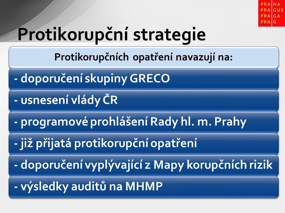 Protikorupčních opatření navazují na: - doporučení skupiny GRECO- usnesení vlády ČR- programové prohlášení Rady hl. m. Prahy- již přijatá protikorupčn