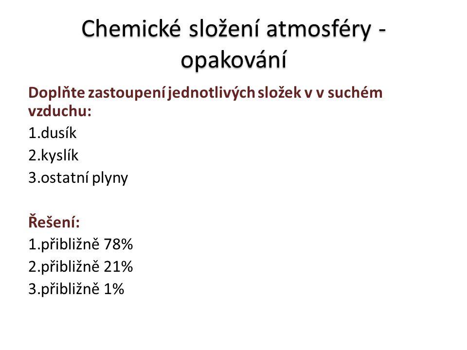 Chemické složení atmosféry - opakování Doplňte zastoupení jednotlivých složek v v suchém vzduchu: 1.dusík 2.kyslík 3.ostatní plyny Řešení: 1.přibližně 78% 2.přibližně 21% 3.přibližně 1%