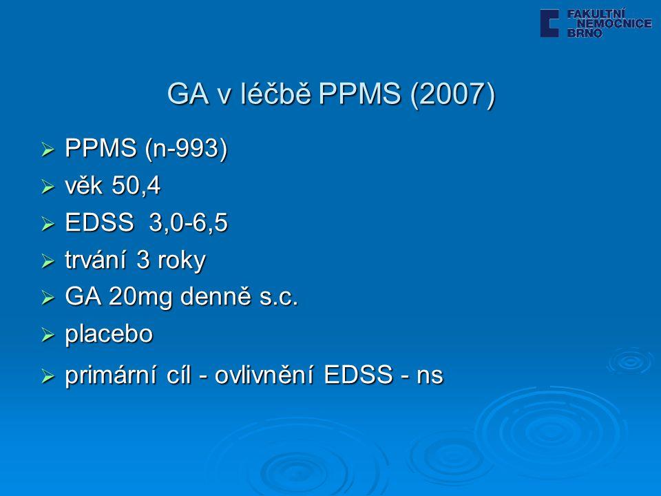 GA v léčbě PPMS (2007)  PPMS (n-993)  věk 50,4  EDSS 3,0-6,5  trvání 3 roky  GA 20mg denně s.c.  placebo  primární cíl - ovlivnění EDSS - ns