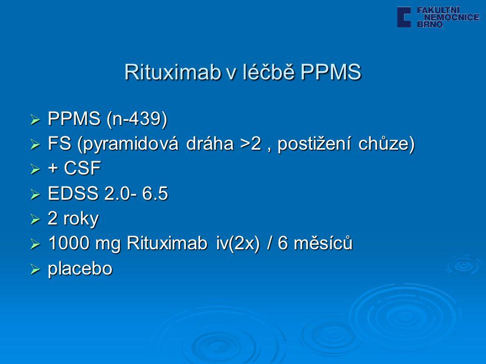 Rituximab v léčbě PPMS  PPMS (n-439)  FS (pyramidová dráha >2, postižení chůze)  + CSF  EDSS 2.0- 6.5  2 roky  1000 mg Rituximab iv(2x) / 6 měsíců  placebo