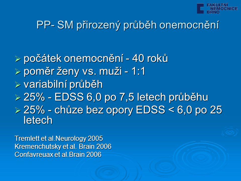 PP- SM přirozený průběh onemocnění  počátek onemocnění - 40 roků  poměr ženy vs. muži - 1:1  variabilní průběh  25% - EDSS 6,0 po 7,5 letech průbě