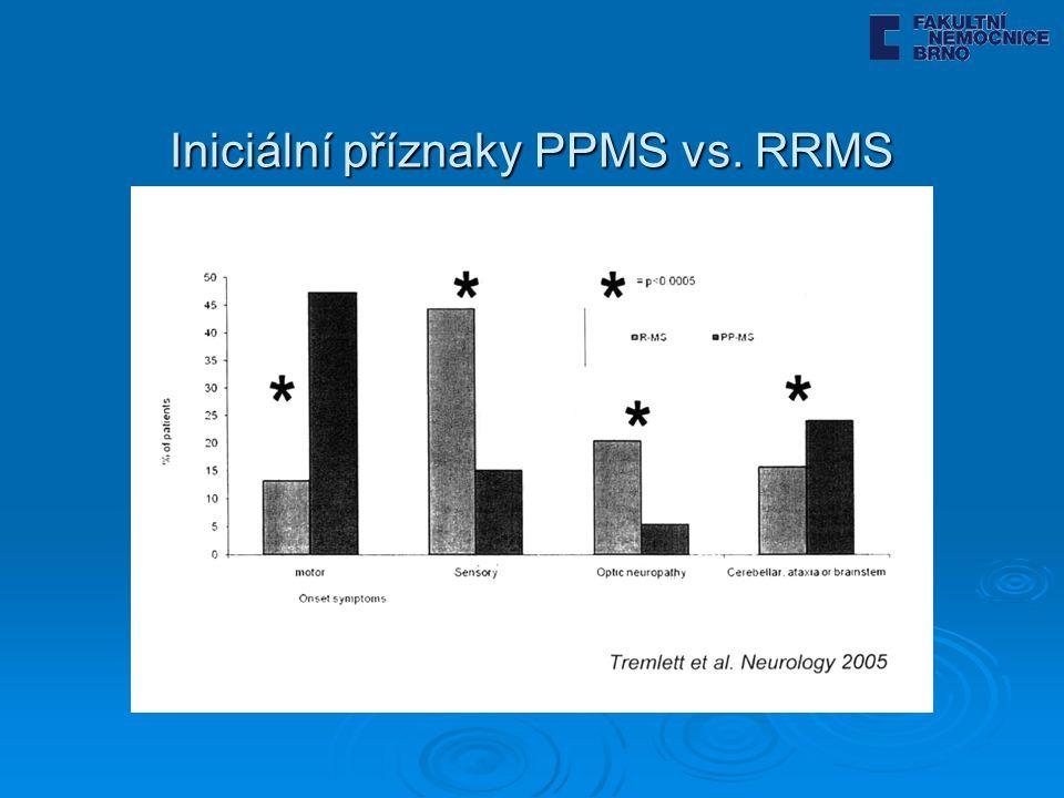 Iniciální příznaky PPMS vs. RRMS
