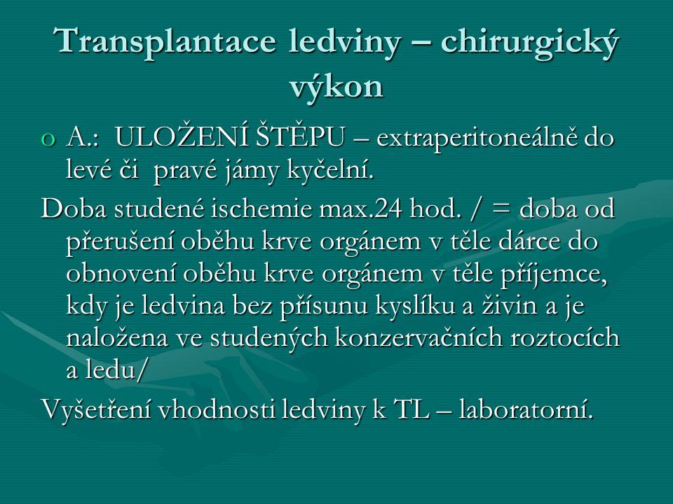 Transplantace ledviny – chirurgický výkon oA.: ULOŽENÍ ŠTĚPU – extraperitoneálně do levé či pravé jámy kyčelní.