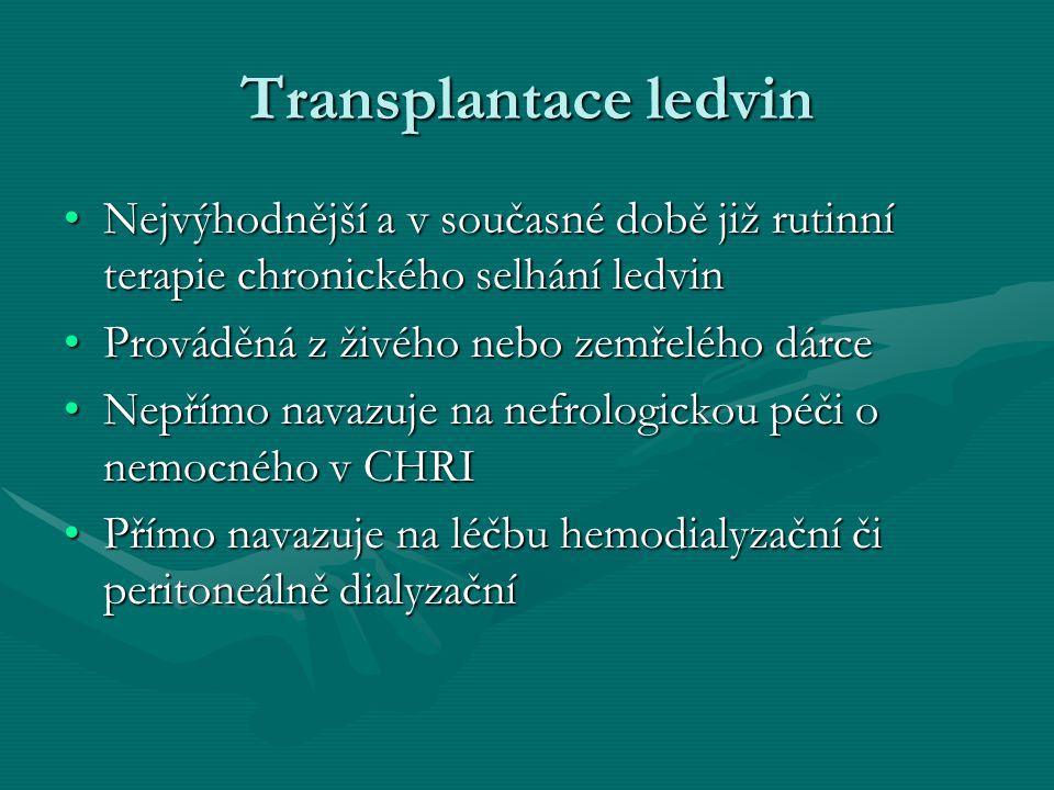 Péče o pacienta po TL Pacient je po výkonu sledován na JIPu, dle stavu poté na standardním oddělení, po propuštění je sledován v nefrologické poradně.