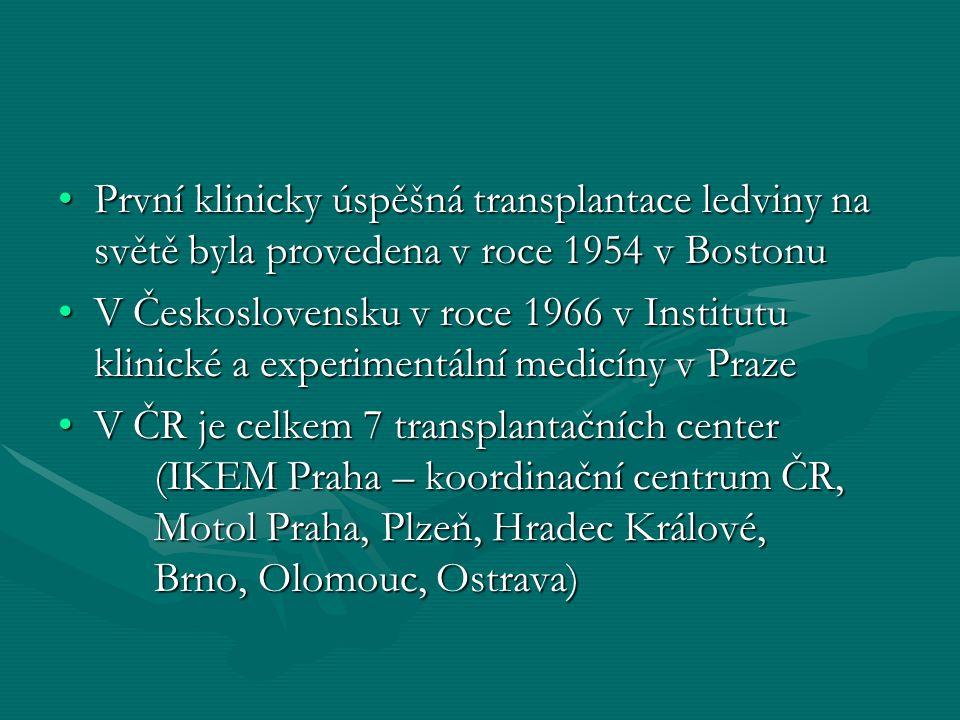 Transplantace ledviny 1 ze 3 možných léčebných postupů1 ze 3 možných léčebných postupů Zlepšuje kvalitu životaZlepšuje kvalitu života Není dosažitelná okamžitěNení dosažitelná okamžitě