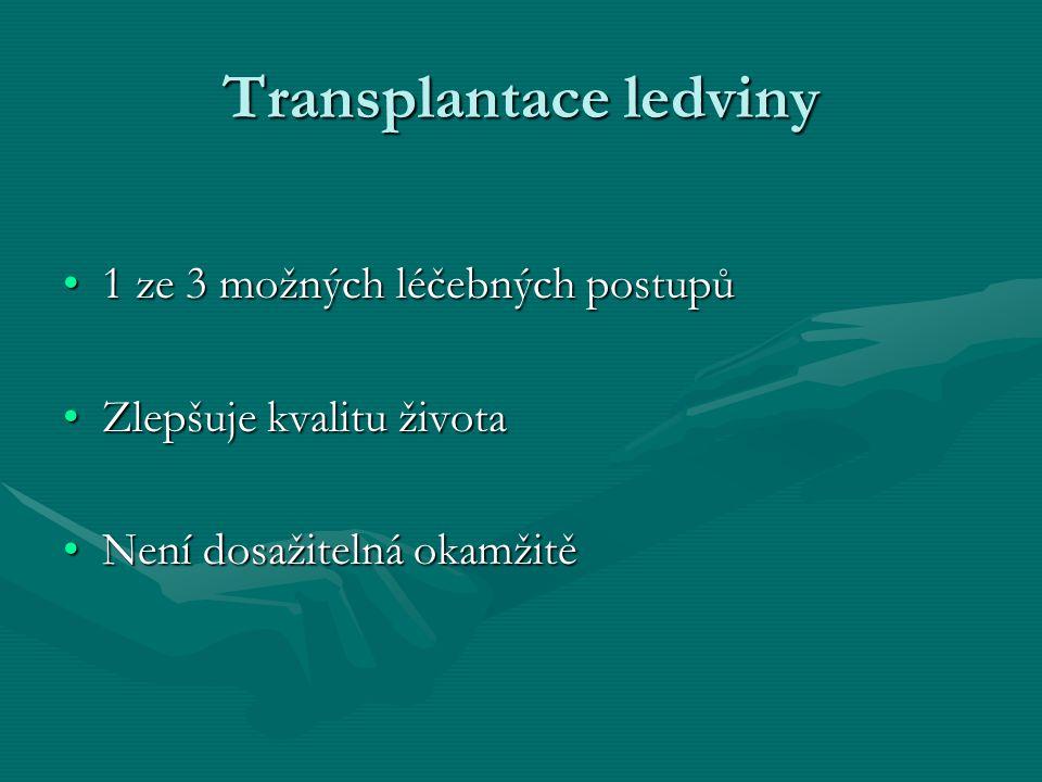 Základní podmínky pro TL Nepřítomnost kontraindikacíNepřítomnost kontraindikací Vhodná dvojice příjemce – dárceVhodná dvojice příjemce – dárce Informovaný souhlasInformovaný souhlas Předpokládaná spoluprácePředpokládaná spolupráce Nezvratné selhání ledvinNezvratné selhání ledvin