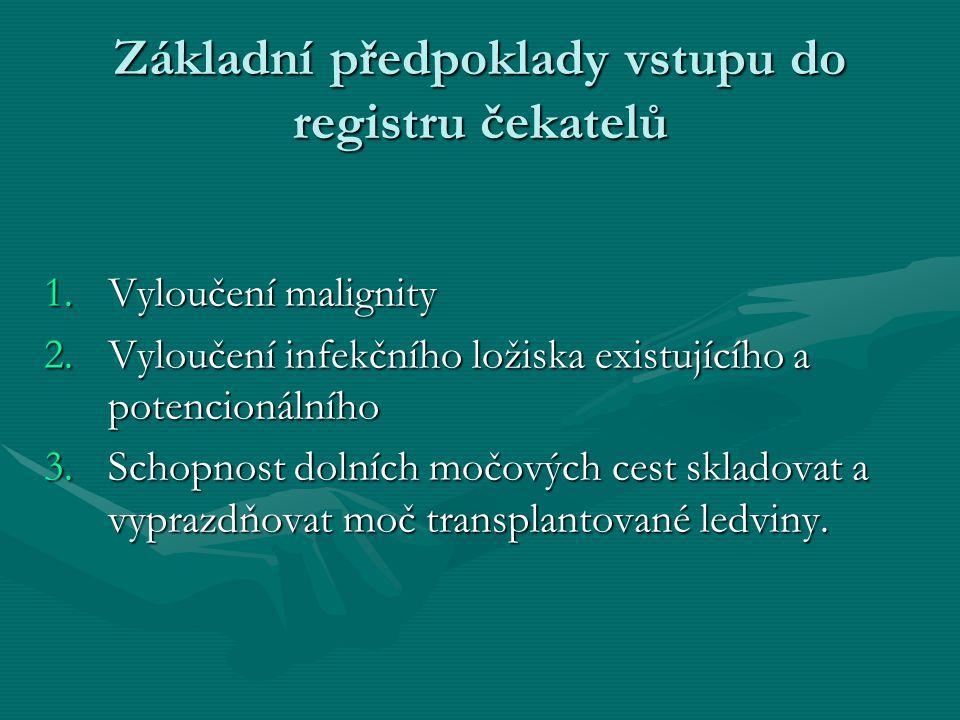 Základní předpoklady vstupu do registru čekatelů 1.Vyloučení malignity 2.Vyloučení infekčního ložiska existujícího a potencionálního 3.Schopnost dolních močových cest skladovat a vyprazdňovat moč transplantované ledviny.