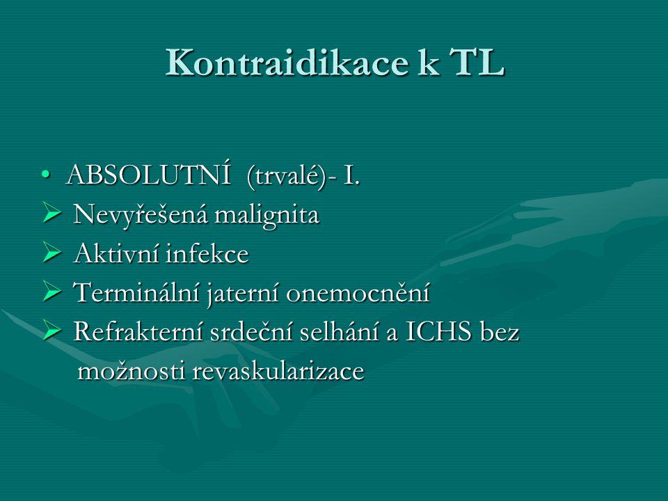 Kontraidikace k TL ABSOLUTNÍ (trvalé)- I.ABSOLUTNÍ (trvalé)- I.