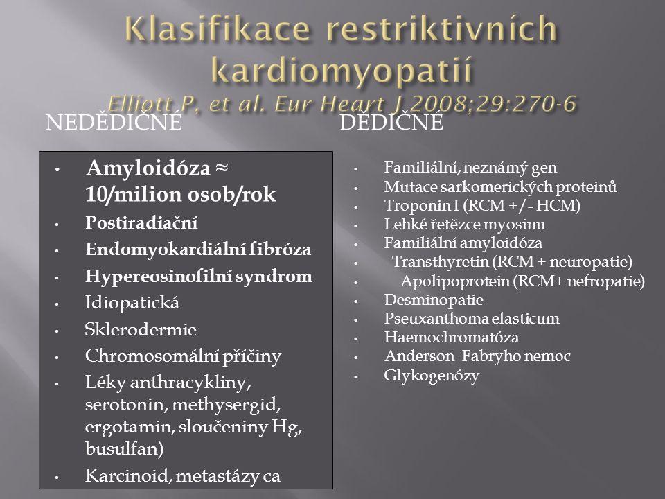 NEDĚDIČNÉDĚDIČNÉ Amyloidóza ≈ 10/milion osob/rok Postiradiační Endomyokardiální fibróza Hypereosinofilní syndrom Idiopatická Sklerodermie Chromosomáln
