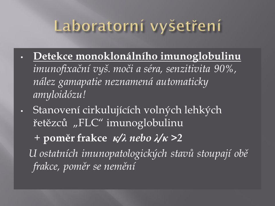 Detekce monoklonálního imunoglobulinu imunofixační vyš. moči a séra, senzitivita 90%, nález gamapatie neznamená automaticky amyloidózu! Stanovení cirk