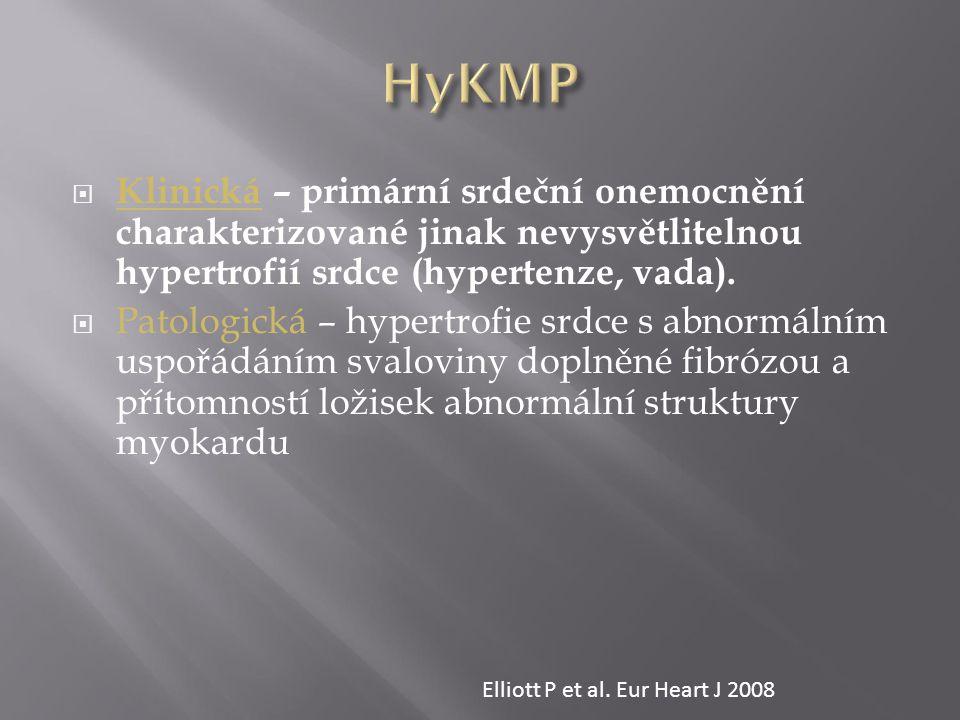NEDĚDIČNÉDĚDIČNÉ Amyloidóza ≈ 10/milion osob/rok Postiradiační Endomyokardiální fibróza Hypereosinofilní syndrom Idiopatická Sklerodermie Chromosomální příčiny Léky anthracykliny, serotonin, methysergid, ergotamin, sloučeniny Hg, busulfan) Karcinoid, metastázy ca Familiální, neznámý gen Mutace sarkomerických proteinů Troponin I (RCM +/- HCM) Lehké řetězce myosinu Familiální amyloidóza Transthyretin (RCM + neuropatie) Apolipoprotein (RCM+ nefropatie) Desminopatie Pseuxanthoma elasticum Haemochromatóza Anderson–Fabryho nemoc Glykogenózy