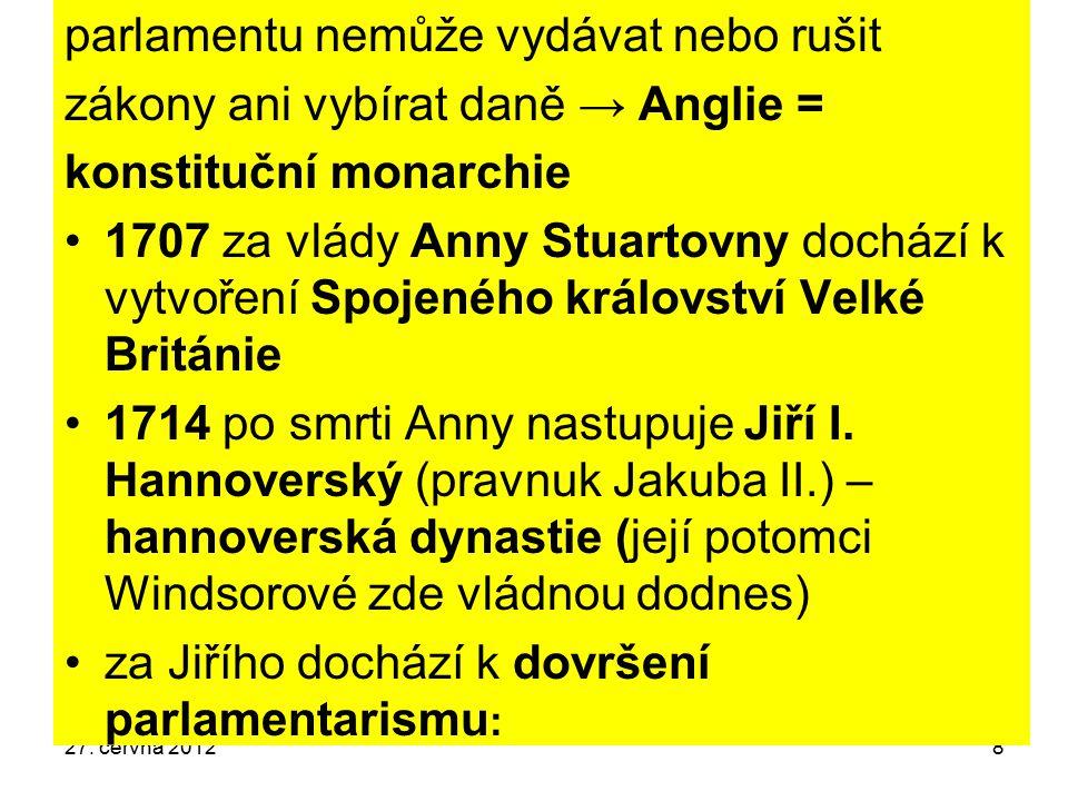 8 parlamentu nemůže vydávat nebo rušit zákony ani vybírat daně → Anglie = konstituční monarchie 1707 za vlády Anny Stuartovny dochází k vytvoření Spoj