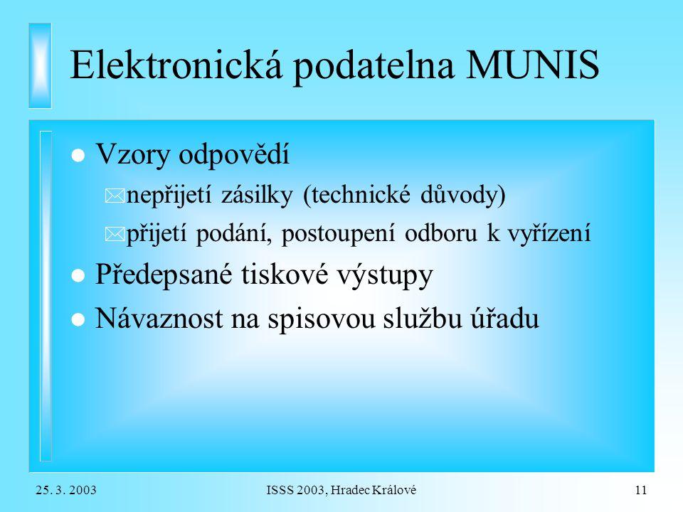 25. 3. 2003ISSS 2003, Hradec Králové11 Elektronická podatelna MUNIS l Vzory odpovědí * nepřijetí zásilky (technické důvody) * přijetí podání, postoupe