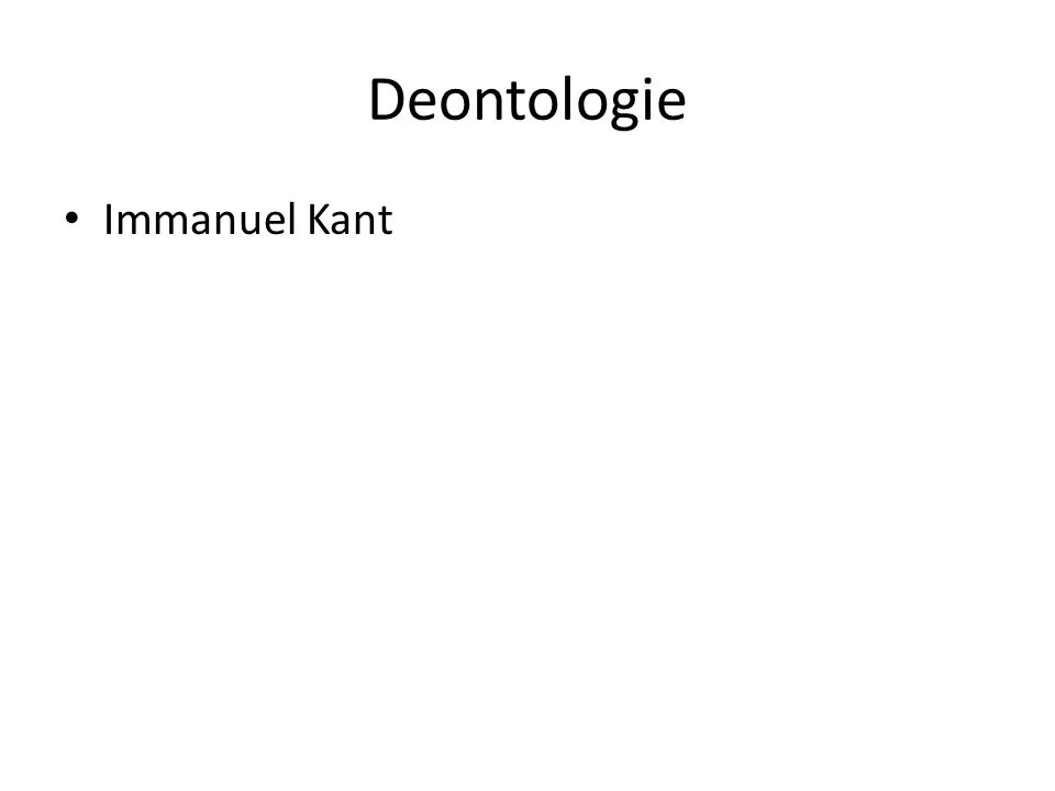 Deontologie Immanuel Kant