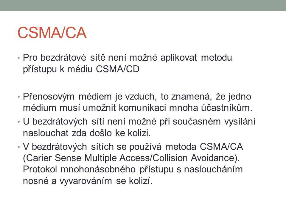 CSMA/CA Pro bezdrátové sítě není možné aplikovat metodu přístupu k médiu CSMA/CD Přenosovým médiem je vzduch, to znamená, že jedno médium musí umožnit