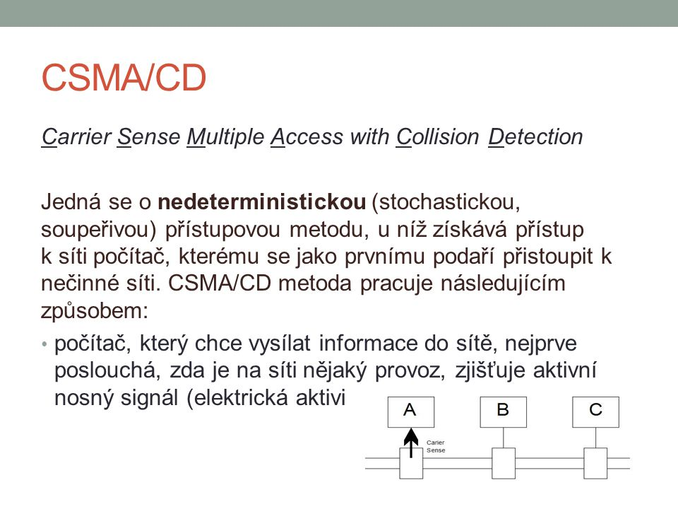CSMA/CD Carrier Sense Multiple Access with Collision Detection Jedná se o nedeterministickou (stochastickou, soupeřivou) přístupovou metodu, u níž získává přístup k síti počítač, kterému se jako prvnímu podaří přistoupit k nečinné síti.
