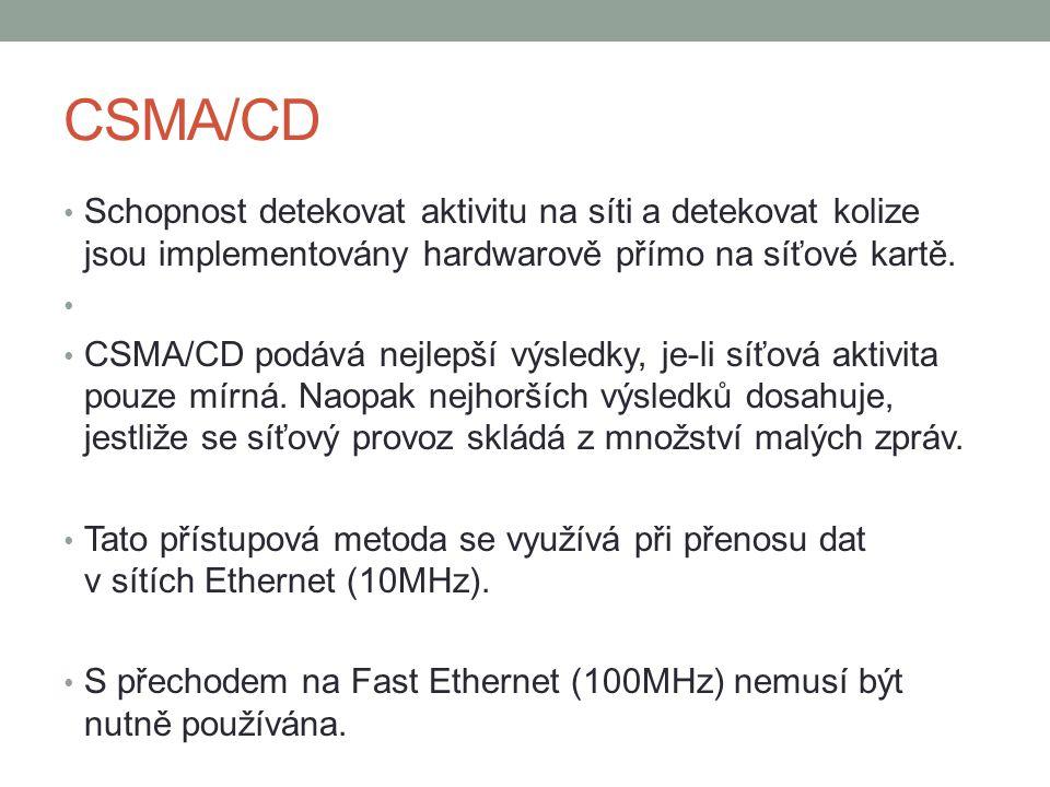 CSMA/CD Schopnost detekovat aktivitu na síti a detekovat kolize jsou implementovány hardwarově přímo na síťové kartě. CSMA/CD podává nejlepší výsledky
